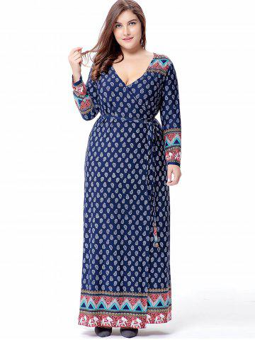 Plus Size Paisley Pattern Maxi Dress