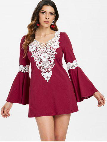 Crochet Insert Long Sleeve Mini Dress