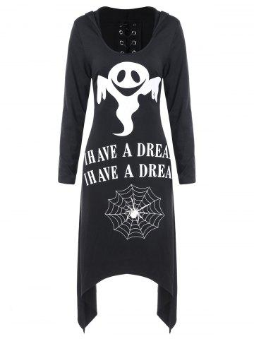 Halloween Asymmetric Lace Up Graphic Pullover Hoodie