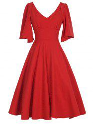 Plus Size Knee Length Flared Dress -