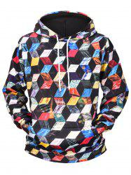 Colorful Cube Print Pullover Hoodie -