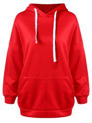 Drawstring Tunic Pullover Hoodie -