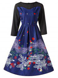 Vintage Printed Pin Up Dress -