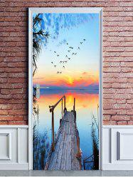 Sunset Waterside Bridge Print Door Cover Stickers -