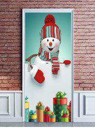 Christmas Snowman Gifts Print Door Cover Stickers -