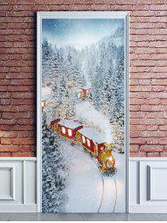 Christmas Train Snowy Forest Print Door Cover Stickers -
