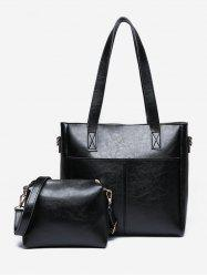 2 Pieces PU Leather Minimalist Shoulder Bag Set -
