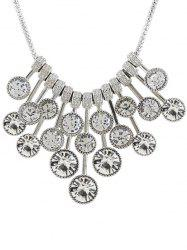Round Rhinestone Inlaid Pendant Necklace -