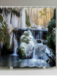 River Icicles Print Waterproof Bathroom Shower Curtain -