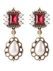 Rhinestone Faux Gem Drop Earrings -