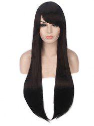 Long Inclined Bang Straight Capless Synthetic Wig -