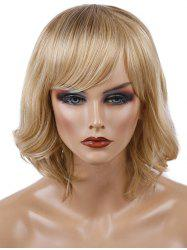 Short Oblique Bang Wavy Colormix Synthetic Wig -