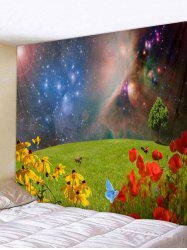 Wall Hanging Art Galaxy Grasslands Flower Print Tapestry -