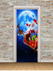 Christmas Santa Claus Moon Print Door Cover Stickers -