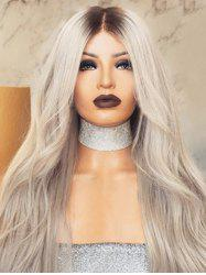 Long Middle Part Ombre Wavy Synthetic Wig -