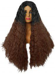 Long Center Parting Fluffy Ombre Water Wave Lace Front Synthetic Wig -