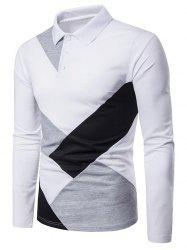 Casual Patchwork Long Sleeve Polo Shirt -