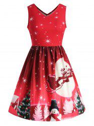 Christmas Tree Print Plus Size A Line Dress -