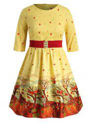 Halloween Owl Printed Plus Size A Line Dress with Belt -