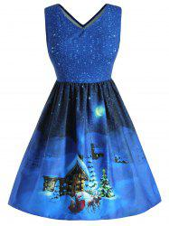 Christmas House Plus Size V Neck A Line Dress -