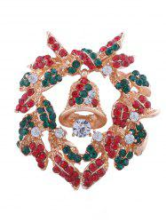 Rhinestone Inlaid Christmas Bell Brooch -