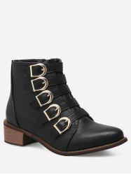 Pointed Toe Buckle Strap Short Boots -