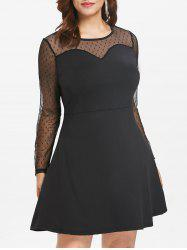 Plus Size Mesh Polka Dot Dress -