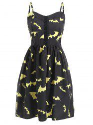 Halloween Bats Print Cami Strap Dress -