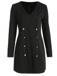 Buttons Embellished Full Sleeve Mini Dress -