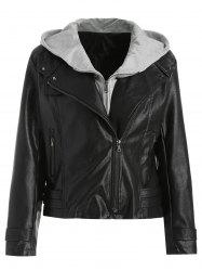 Removable Hooded PU Leather Jacket -