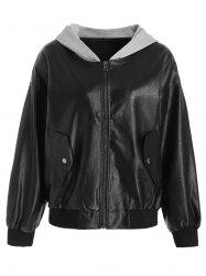 Zipper PU Leather Hooded Jacket -