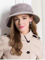 Vintage Solid Color Feather Bucket Hat -