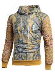 Retro Allover Printed Casual Hoodie -