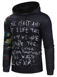 Camouflage Sleeve Letter Print Drawstring Hoodie -