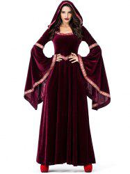 Halloween Long Sleeve Maxi Velvet Hooded Dress -