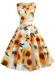 Vintage Sunflower Print High Waist Swing Dress -