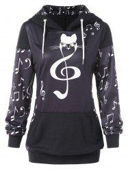 Front Pocket Musical Notes Print Hoodie -