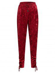 Gathered Cuffs Velvet Plus Size Joggers Pants -