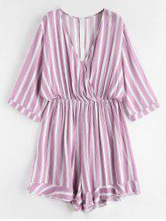 Striped Plus Size Surplice Romper -