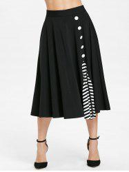 Stripe Insert Midi Flare Skirt with Buttons -