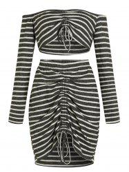 Striped Plus Size Crop Top and Ruched Mini Skirt -