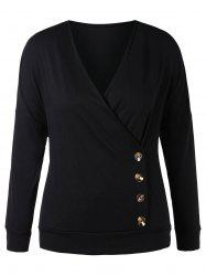 Plus Size Buttoned Surplice Sweatshirt -