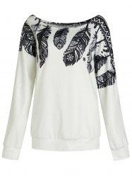 Long Sleeve Plus Size Feather Print Sweatshirt -