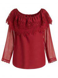 Plus Size Off Shoulder See Through Sleeves Overlay Chiffon Blouse -