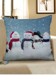 Christmas Snowman Brother Print Linen Pillowcase -