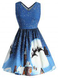 Christmas Snowflake and Elk Print Plus Size A Line Dress -