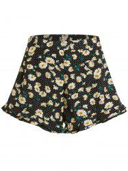 Polka Dot Daisy Print High Waisted Shorts -