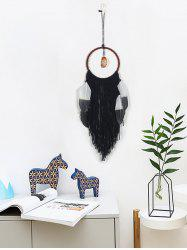 Faux Jade Feathers Fringed Dream Catcher Wall Hanging -