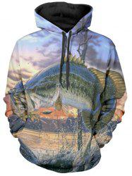 Jumping Fish Print Pullover Hoodie -
