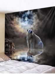 Wall Hanging Art Moon Night Polar Bear Print Tapestry -